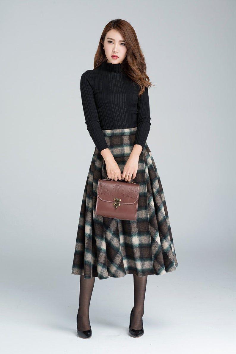 Vintage plaid skirt, Wool skirt, pleated skirt, winter skirt, 50s skirt, midi skirt, warm winter skirt, tartan skirt, women skirts 1626#