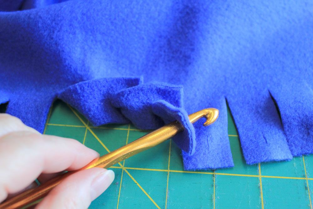 328e723762 No-sew edging for fleece blankets using a crochet hook. Don t need to know  how to crochet to do this simple edging. Definitely going to make one for  Nugget.