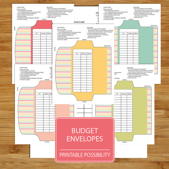 Cash Envelopes Set of 5 - Printable Budget Envelopes - Budgeting - spreadsheet for monthly expenses