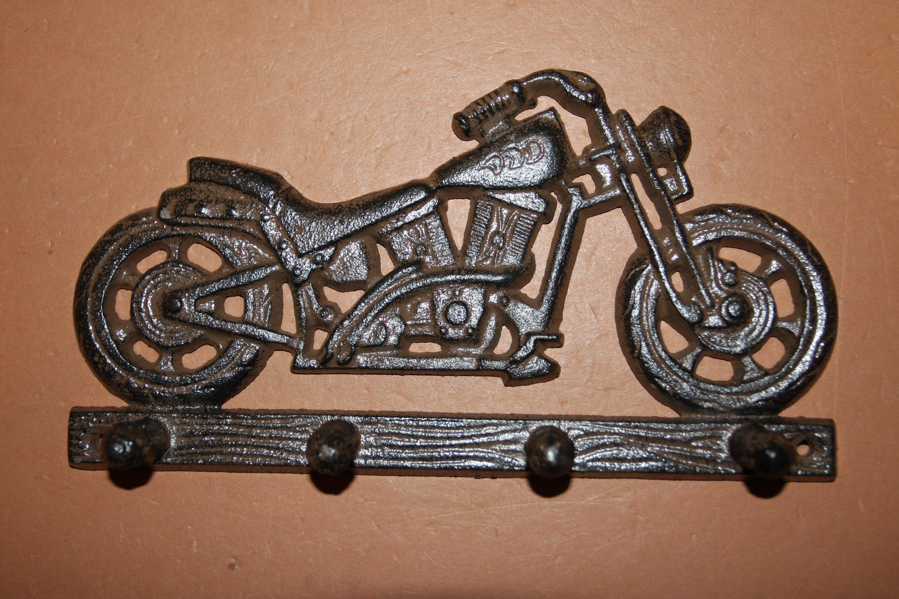 Vintage Style Motorcycle Wall Hanger Fathers Day Gift Cast Iron
