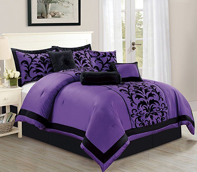 Empire Home Sarah 8 Piece Flocking Comforter Set Over