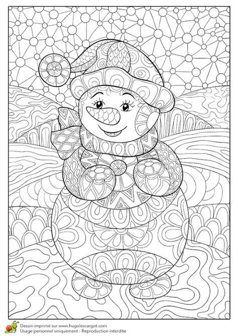 Coloriage pour un hiver zen, joli bonhomme de neige | Coloriage