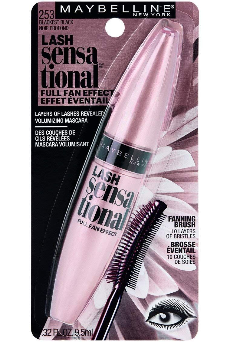 2d0e8069bb2 Maybelline Lash Sensational Washable Mascara, Blackest Black, 0.32 fl. oz.  : Beauty