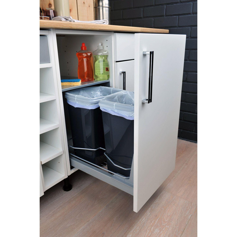 Rangement coulissant 11 poubelles pour meuble L.11 cm DELINIA