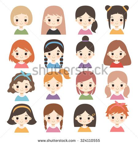 Big Set Of Cute Cartoon Girls Characters With Different Hair Styles On White Cute Cartoon Boy Cute Cartoon Girl Girl Cartoon