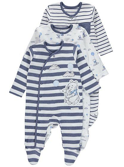 35a61eee6e7 3 Pack Winnie the Pooh Sleepsuits, read reviews and buy online at ...