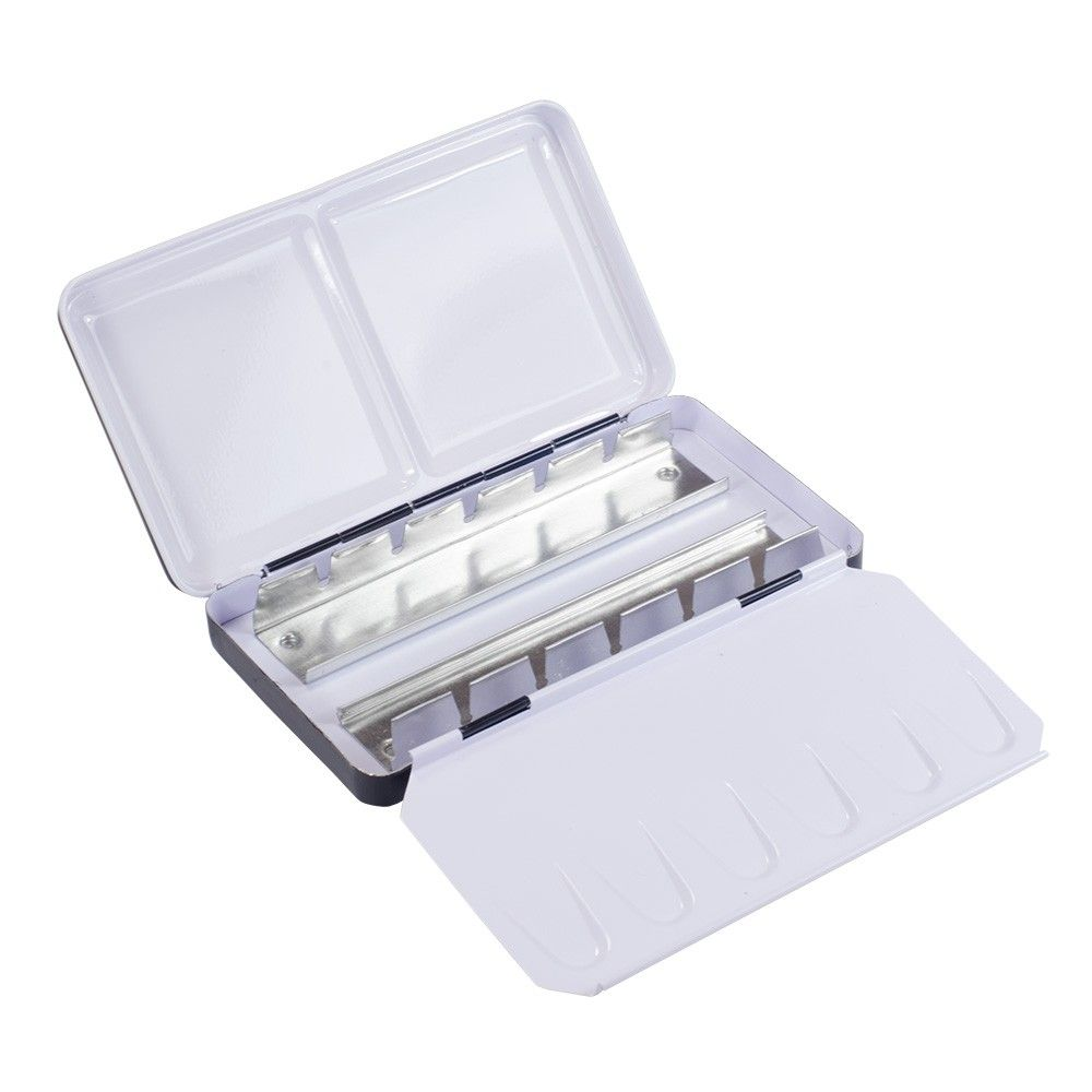 Jas Empty Metal Watercolour Box Holds 12 Half Pans Or 6 Full