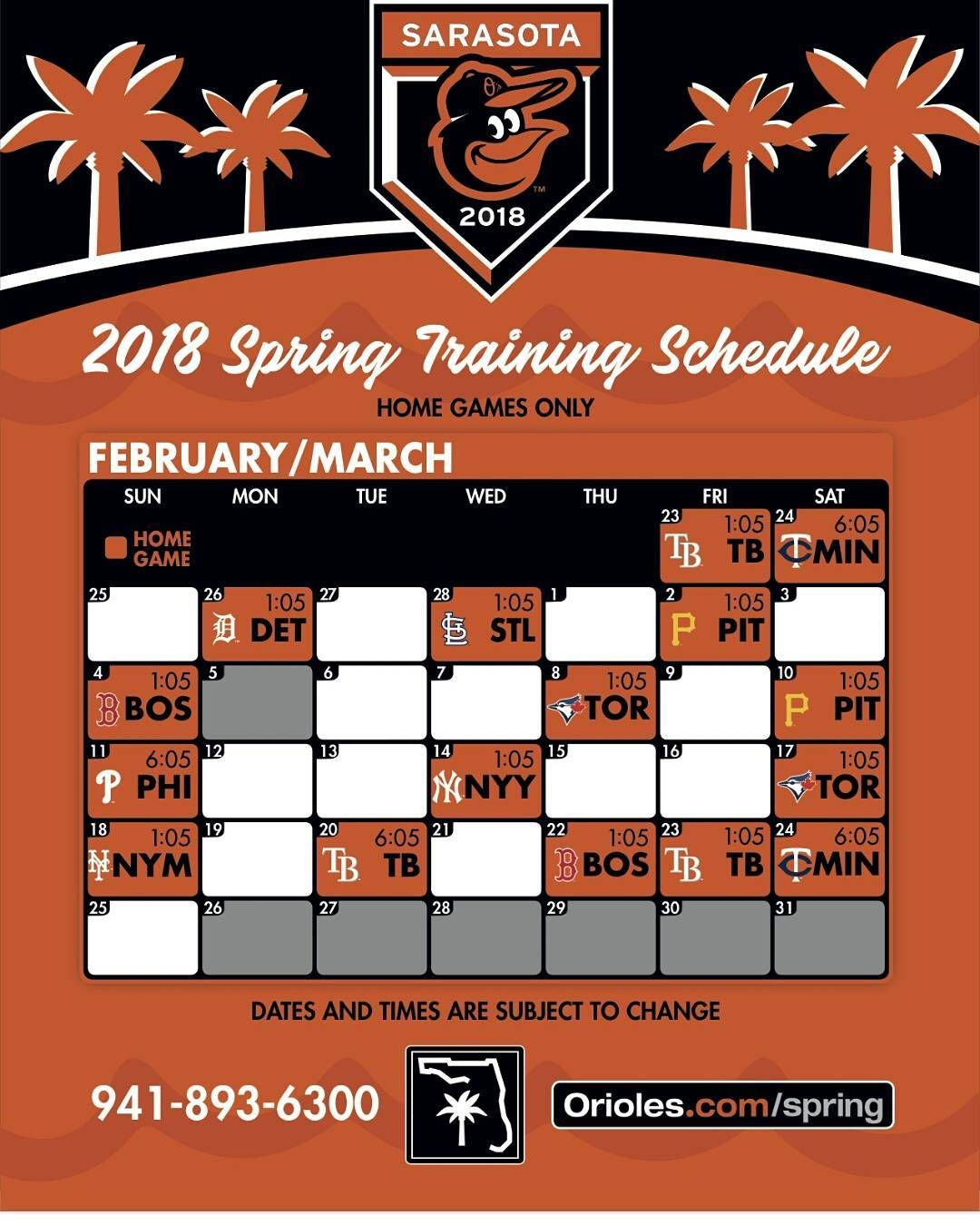 Orioles Spring Training Schedule 2019 The orioles schedule for the 2018 spring training #orioles