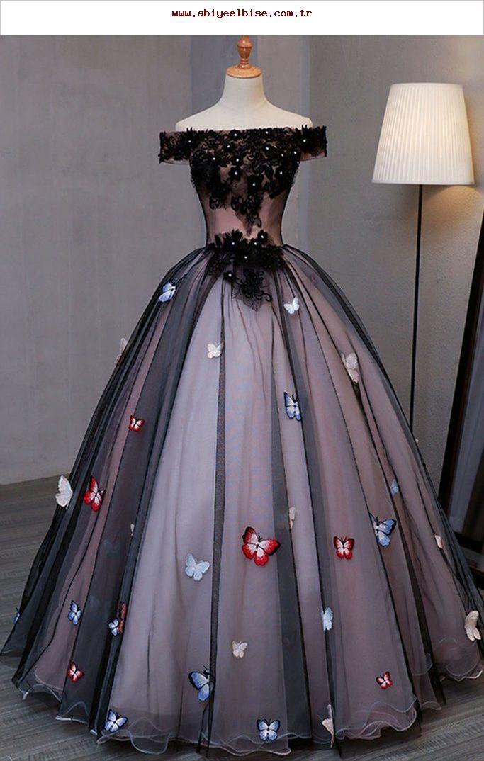 Schulterfrei Prom Dresses | Prinzessin schwarzes Tüll ...