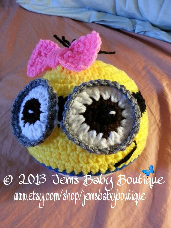 Adorable Minion Crochet Hat, All sizes Available, Photo Prop Beanie ...