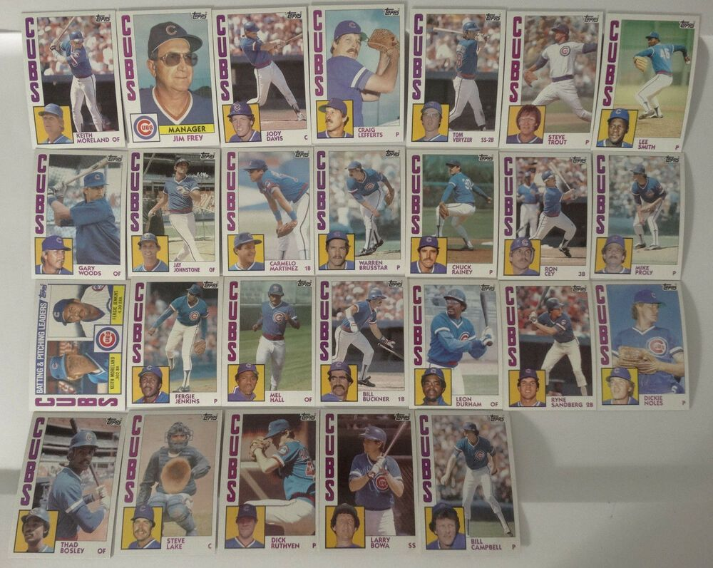 1984 topps chicago cubs team set of 26 baseball cards