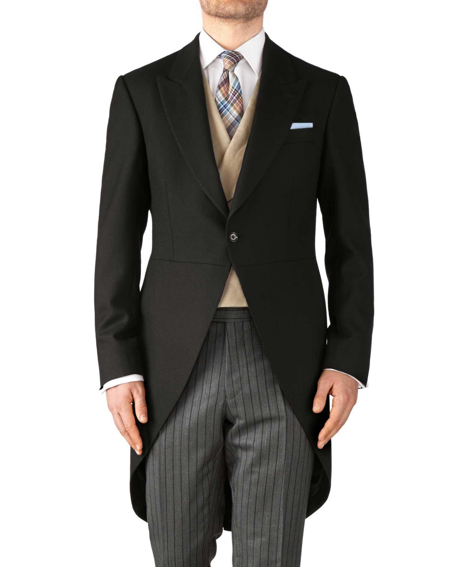 e40d55d24f63 Edwardian Titanic Mens Formal Suit Guide Charles Tyrwhitt Black classic fit herringbone  morning suit tail coat £229.00 AT vintagedancer.com
