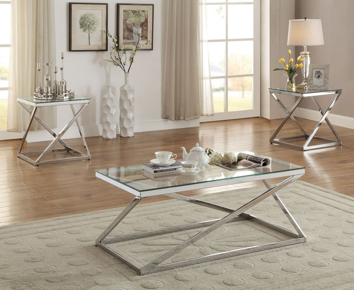 Stylish Silver Chromed 3 Piece Coffee & End Table Set 3