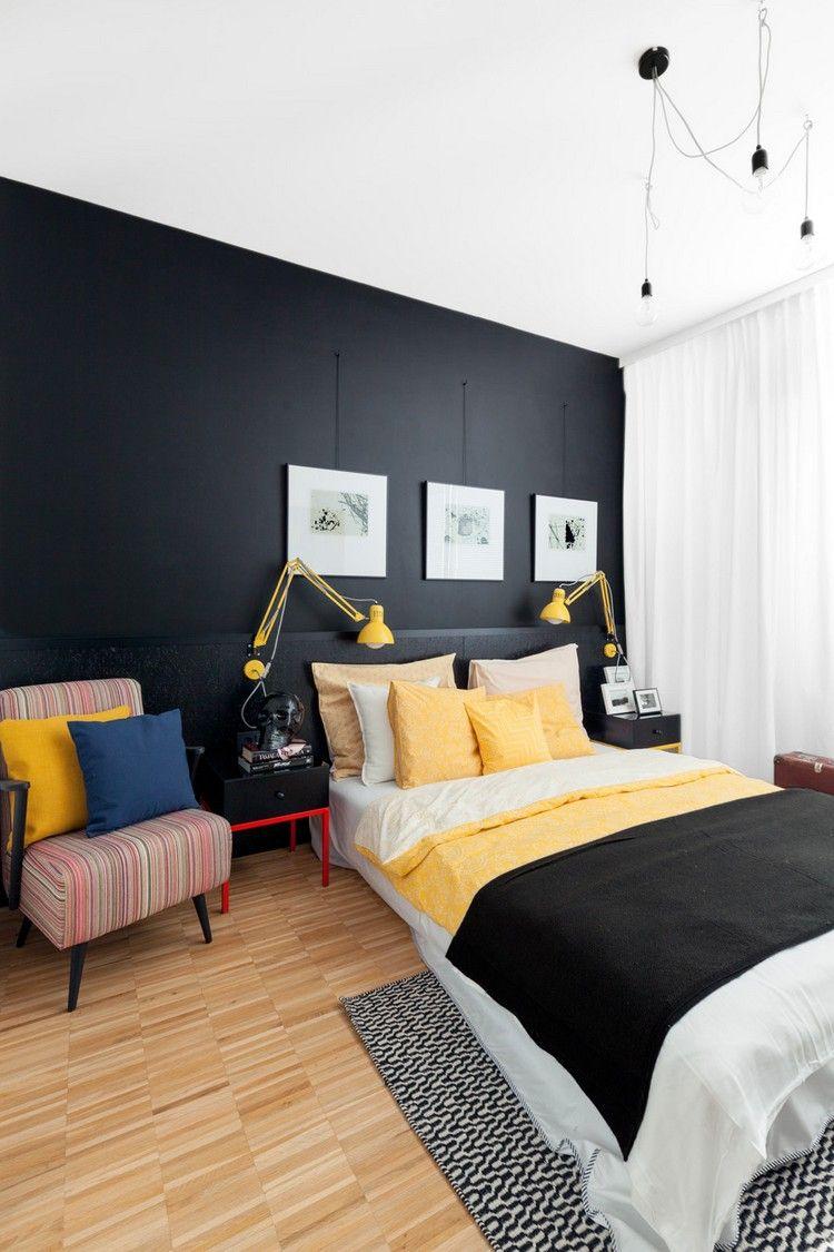 wandfarbe schwarz schlafzimmer akzente gelb #innendesign ...
