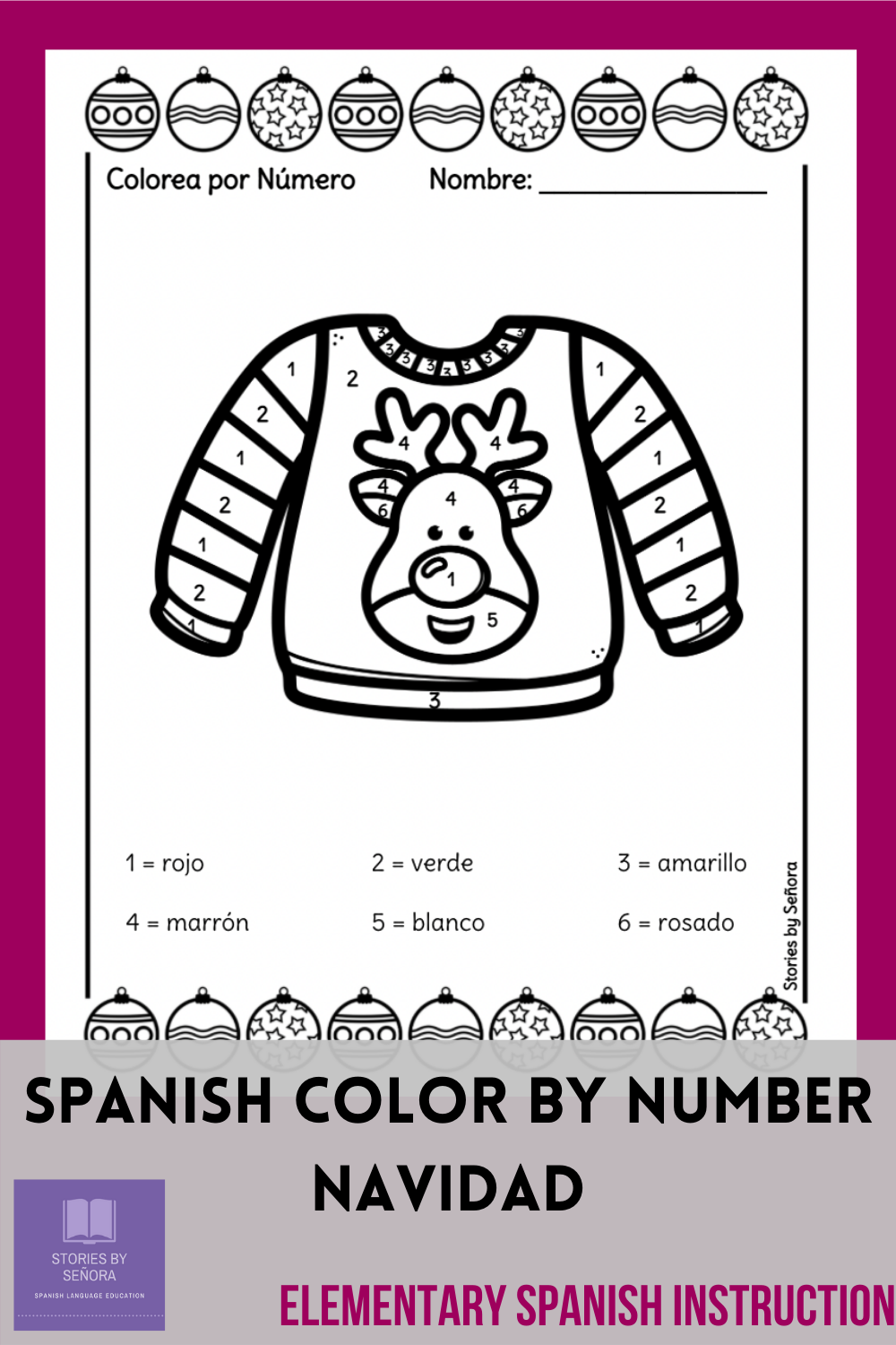 Spanish Color By Number For Christmas Spanish Colors Color Worksheets Spanish Resources [ 1500 x 1000 Pixel ]