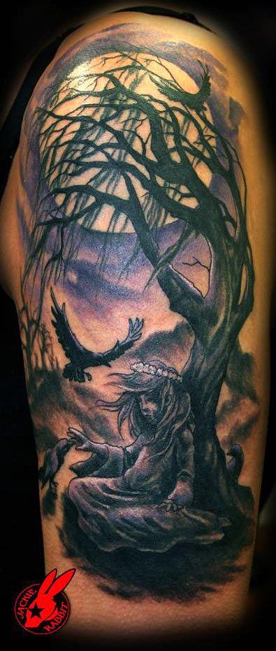 Dead tree crow tattoo on a man 39 s arm tattoo pinterest for Dead tree tattoos