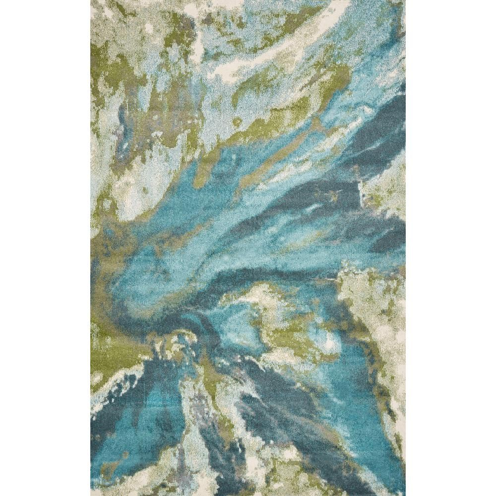 Kas Rugs Watercolors Teal 8 Ft X 10 Ft Abstract Area Rug