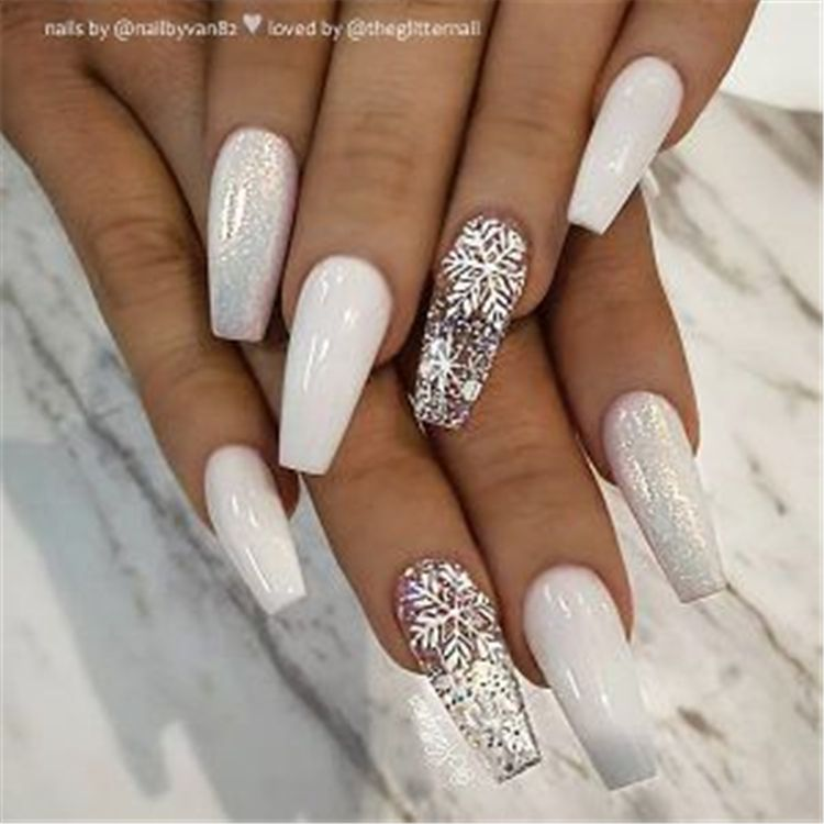 50 Stylish Winter Acrylic Coffin Nail Designs To Copy Right Now Page 14 Of 50 White Acrylic Nails Coffin Nails Designs Pretty Acrylic Nails