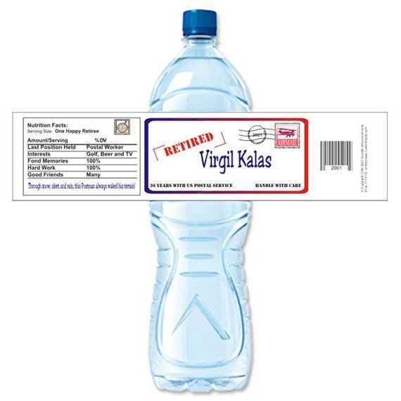 Mailman, Water Bottle Label, Retirement Party Ideas, Water