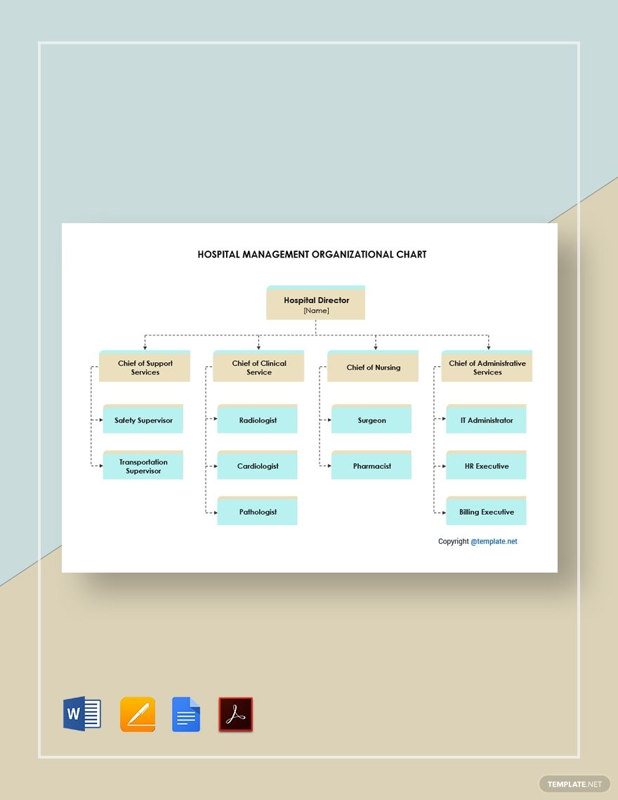 Free Hospital Management Organizational Chart Template Word Organizational Chart Hospitality Management Organizational