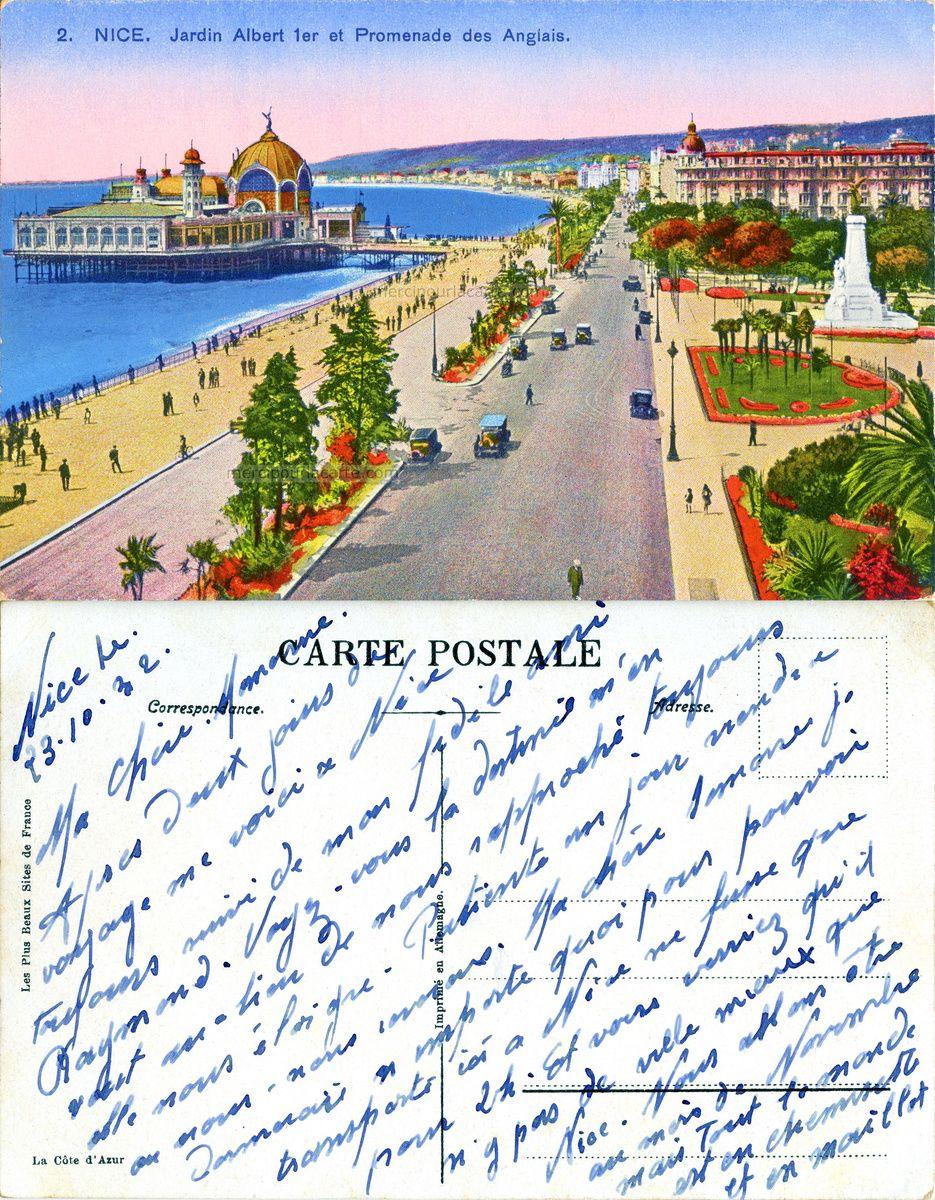Nice - Jardin Albert 1er et Promenade des Anglais - 1932 (from http://mercipourlacarte.com/picture?/1924/)