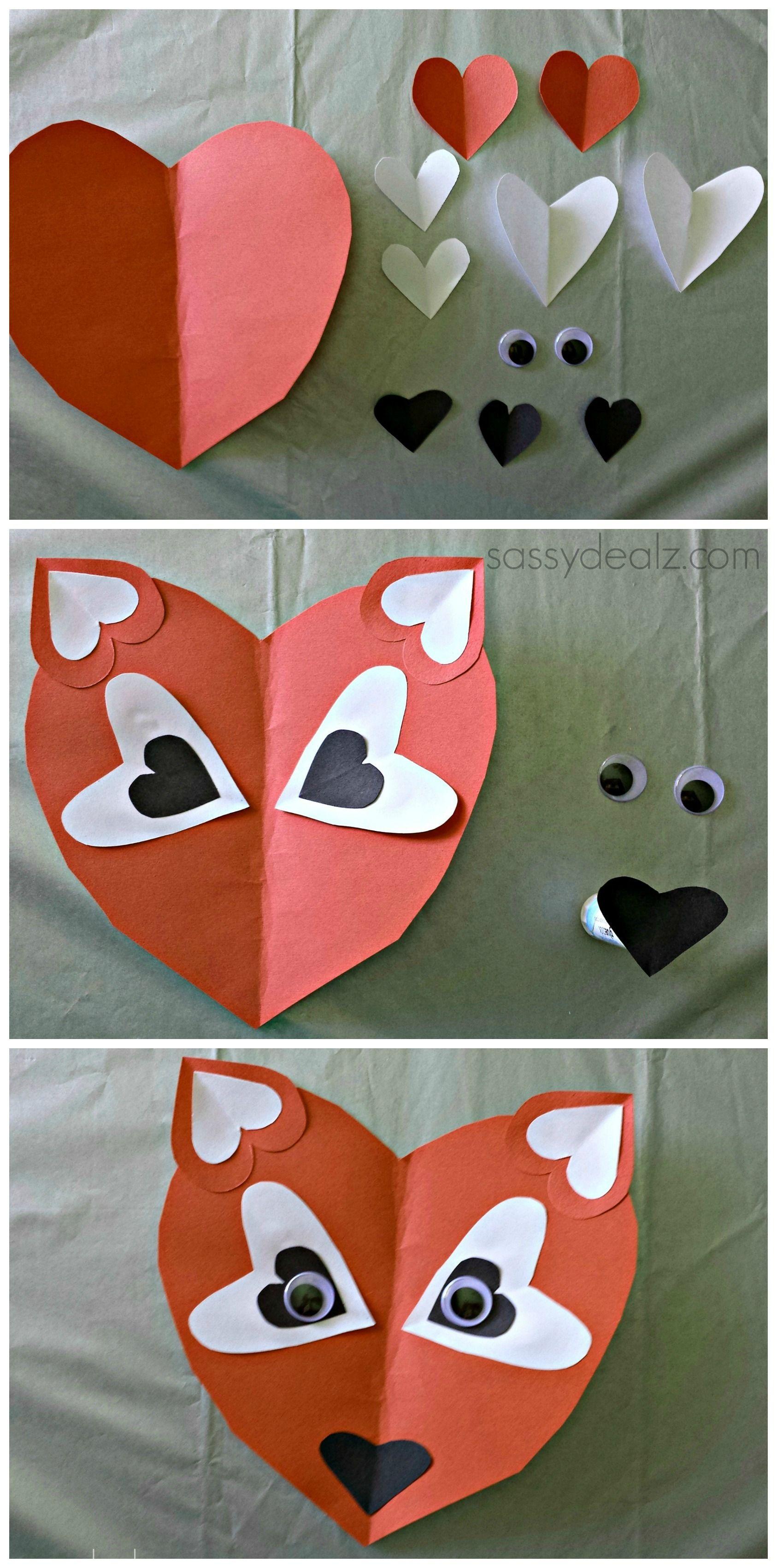 Valentine crafts for kindergarteners - Paper Heart Fox Craft For Kids
