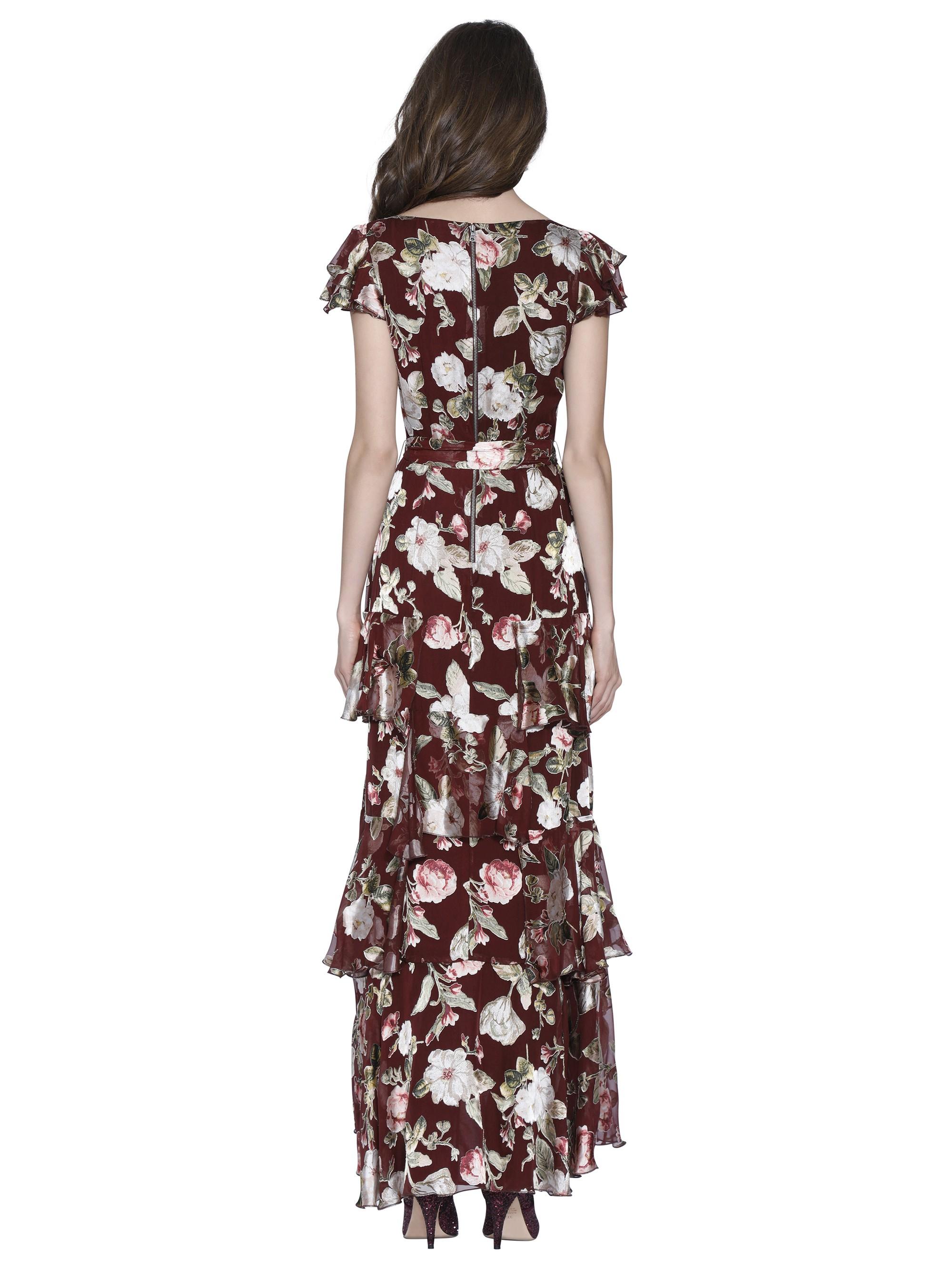 28fd6a6c7dc4 Alice + Olivia Jenny Flutter Sleeve Maxi Dress - Hazy Floral Wine 0 ...