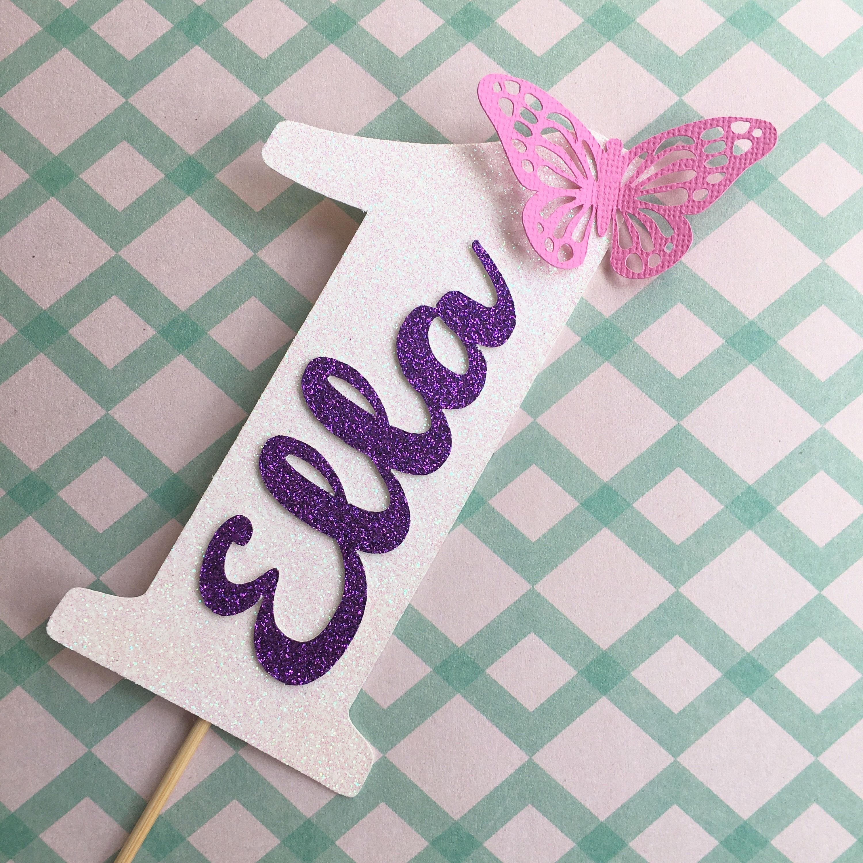 Butterfly cake topper with custom name and age birthday