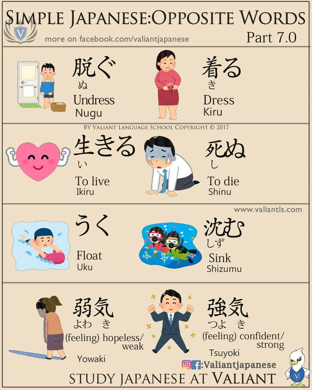 Simple Japanese Opposite Words 7 0