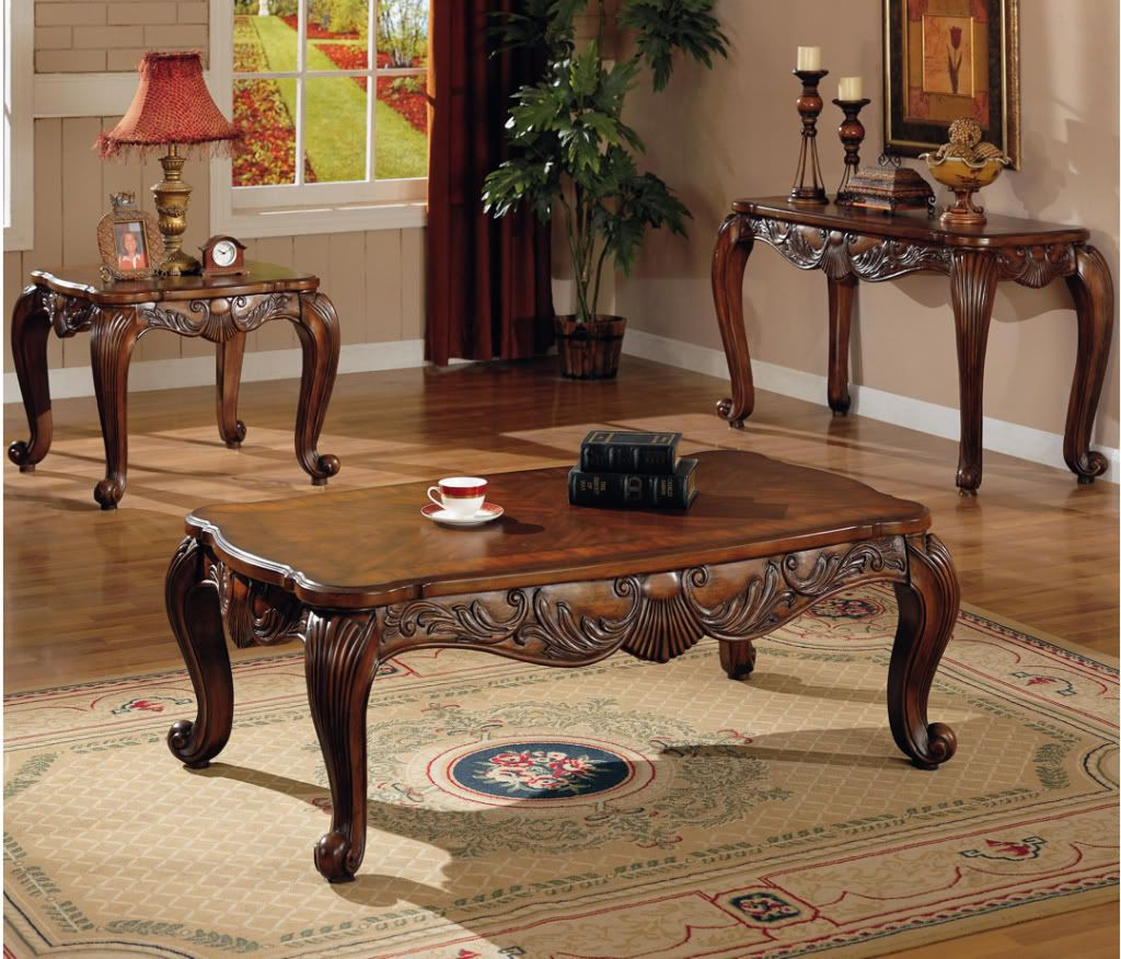 3 Pc Traditional Coffee End Table Set Living Room | Traditional ...