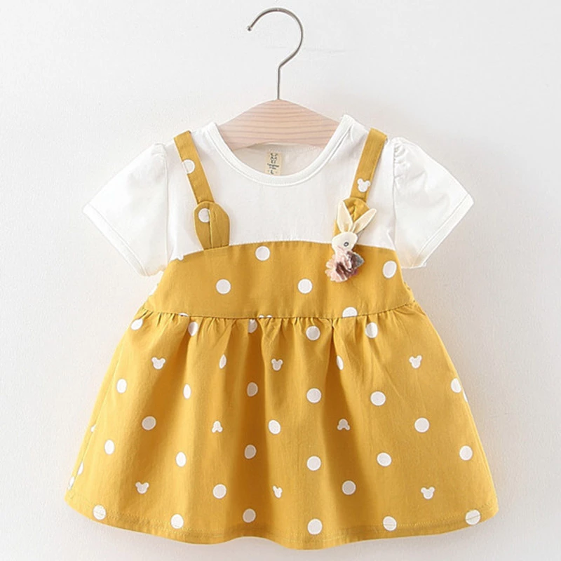 Cute Bunny Brooch Polka Dot Dress – Cutejanie #babygirlpartydresses