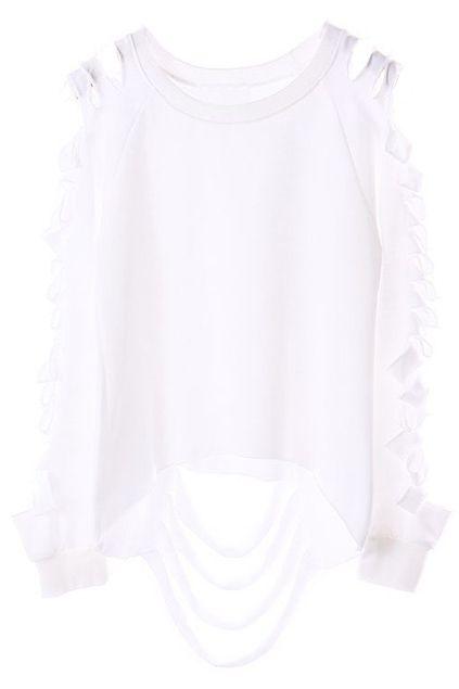 Cut-out Broken White Sweatshirt