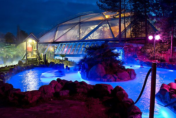 The Wild Water Rapids at night  Sherwood Forest  Center Parcs