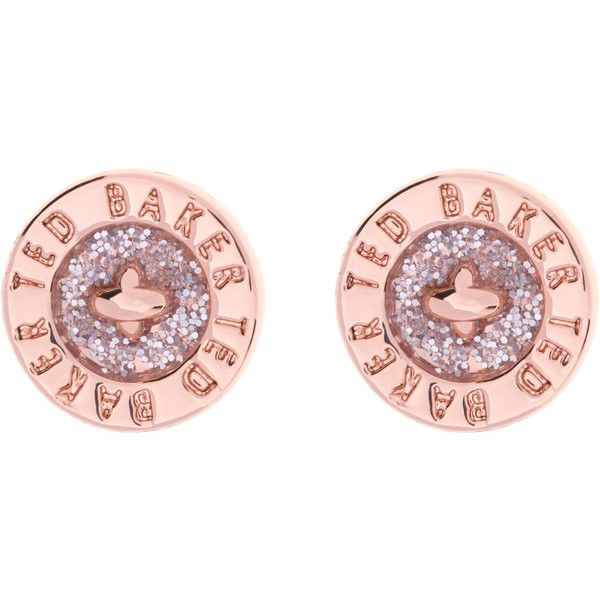 Ted Baker Tempany Enamel Button Stud Earrings Rose Gold Pink Glitter Ted Baker Jewellery Ted Baker Accessories Pink Stud Earrings