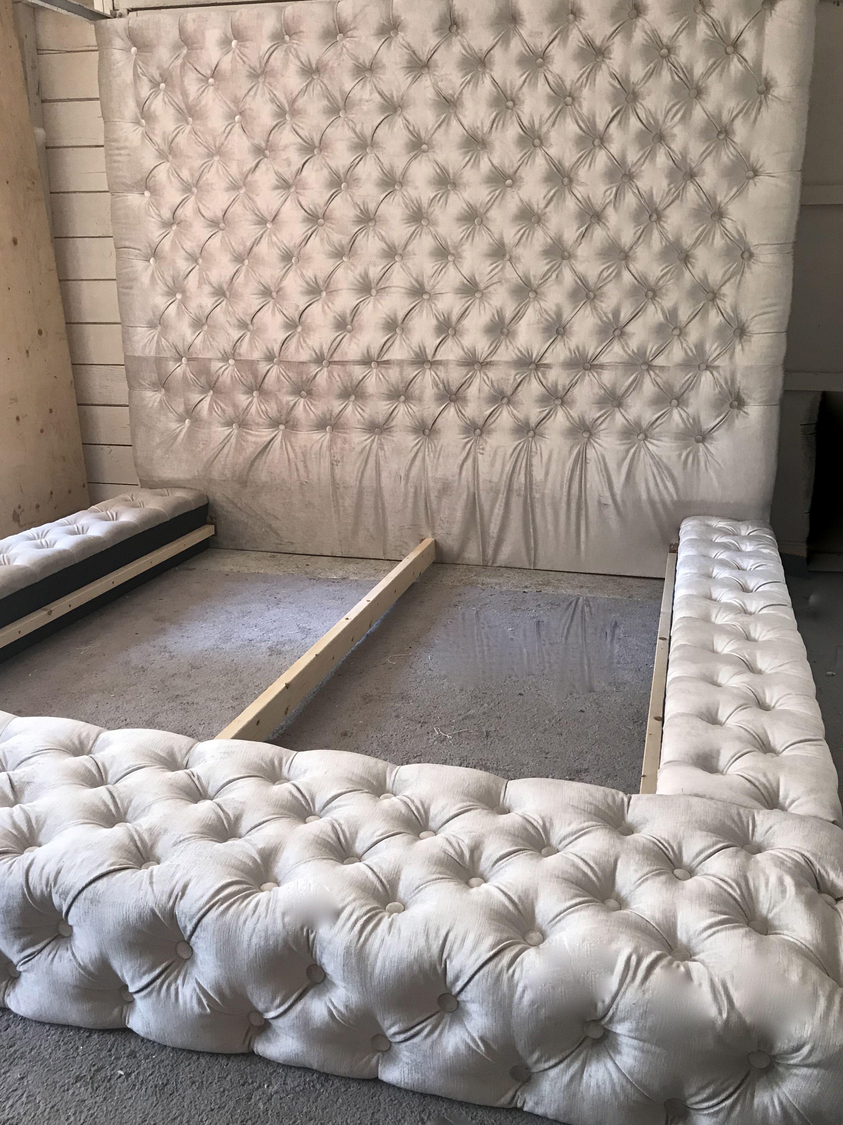 Velvet Diamond Tufted Oversized Bed Tufted Bed Frame Bedroom