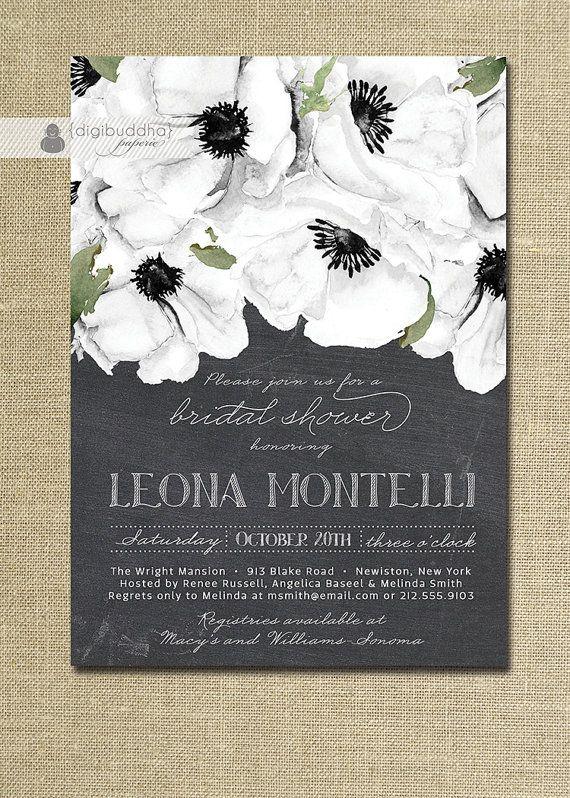 Chalkboard floral bridal shower invitation black white for Designer bridal shower invitations