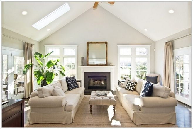 Brighten Up Your Living Room With A Skylight In Ceiling Neutral Living Room Neutral Living Room Design Livingroom Layout