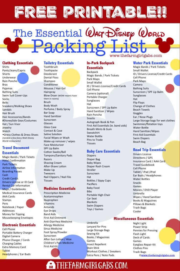 Free Printable Disney Packing List Disney World Packing Disney