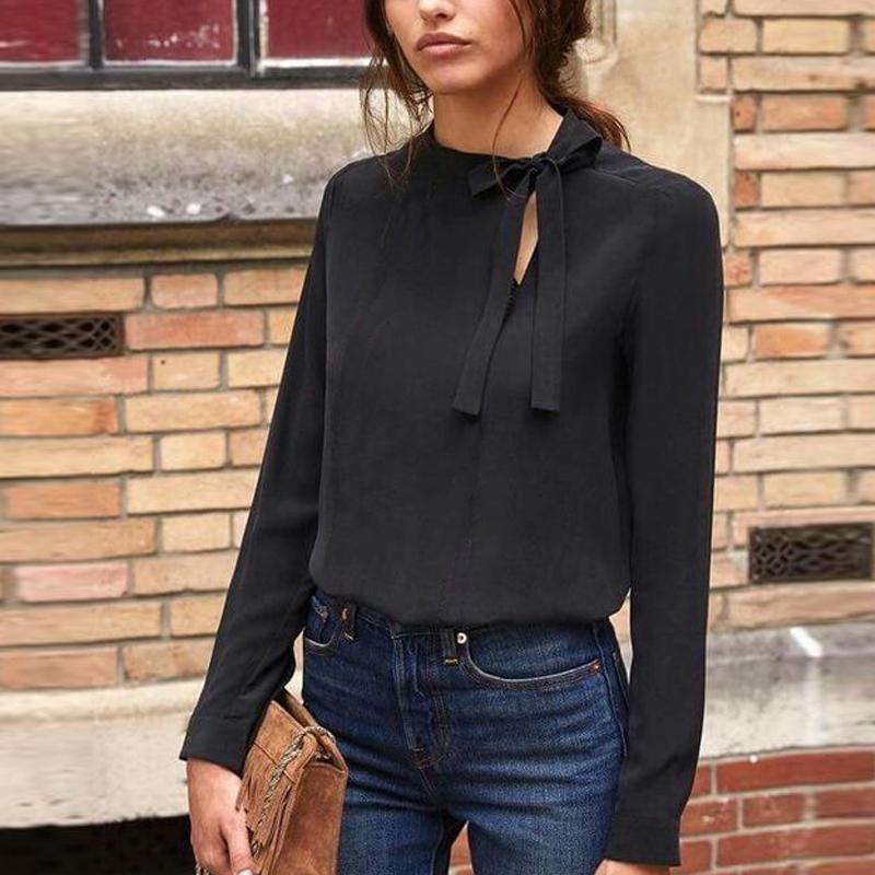 Collar Bow Long Sleeve Blouse #womensfashion