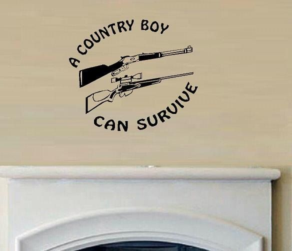 vinyl wall decal quote A Country boy can Survive with shot