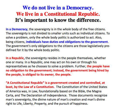 Know the difference between true democracy (mob rule) and a constitutional republic.