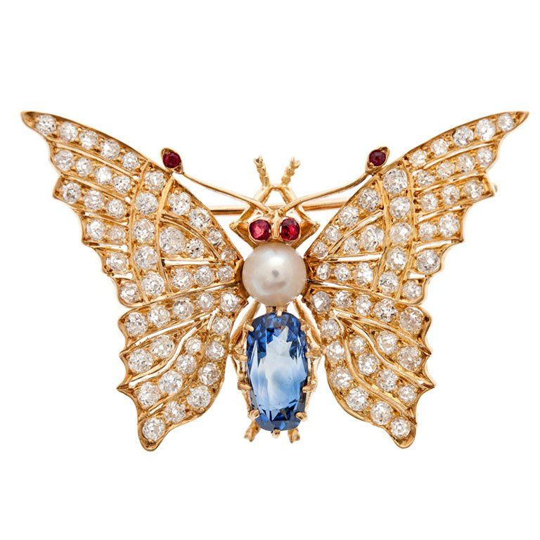 Victorian Butterfly Ceylon Sapphire Pearl Ruby Diamond Brooch | From a unique collection of vintage brooches at https://www.1stdibs.com/jewelry/brooches/brooches/