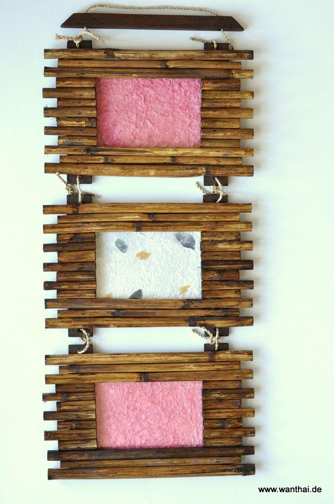 Echtholz-Bilderrahmen, 3er, hell, mit Abdeckung aus Glas und ...