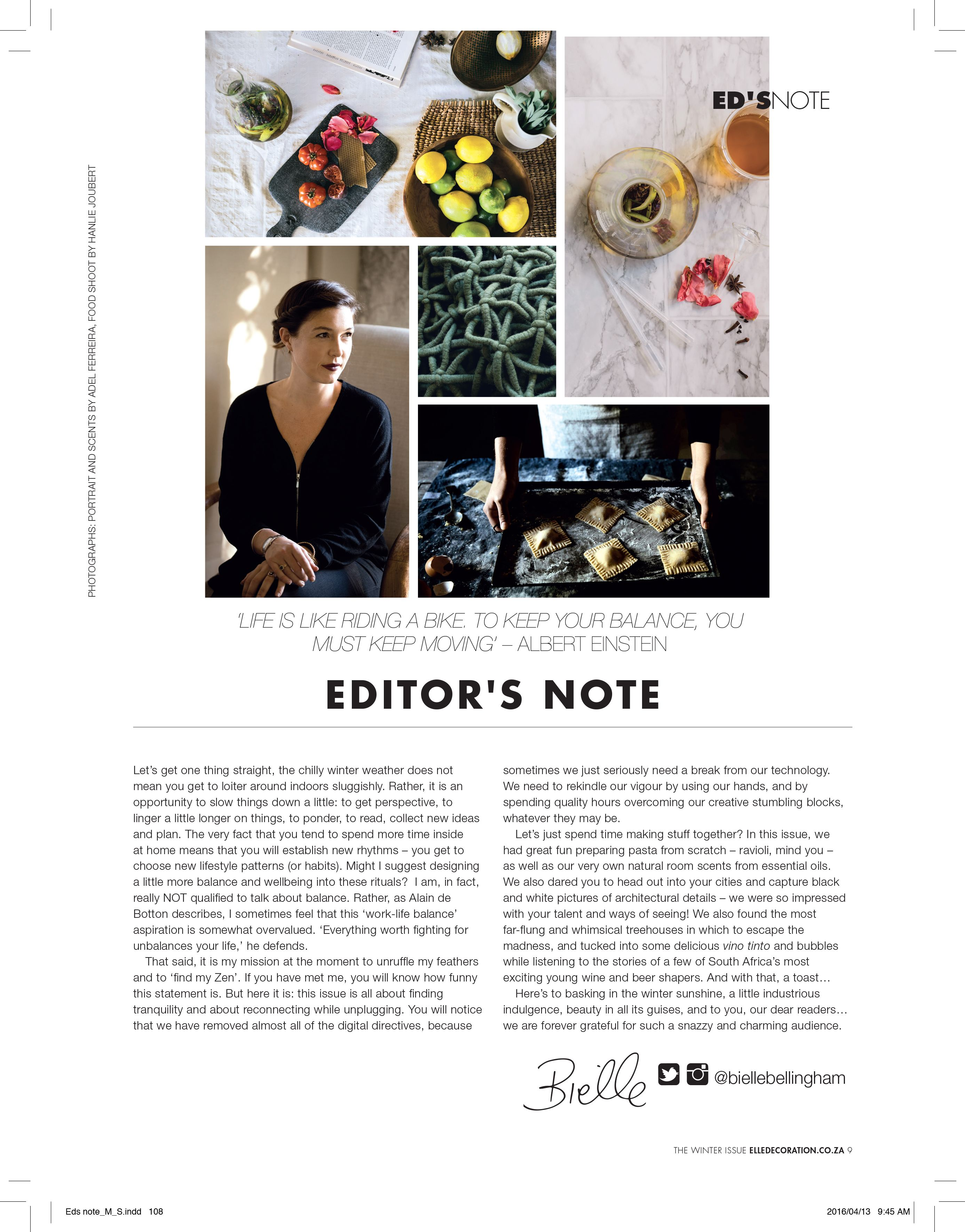 Elle Decoration South Africa Bielle Bellingham S Editor S Letter For Elle Decoration