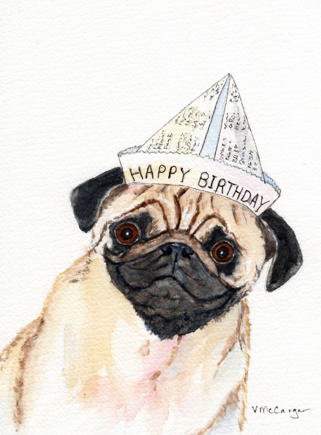 Birthday Pug Card Inside Of Card On 3 Lines Your Birthday Is