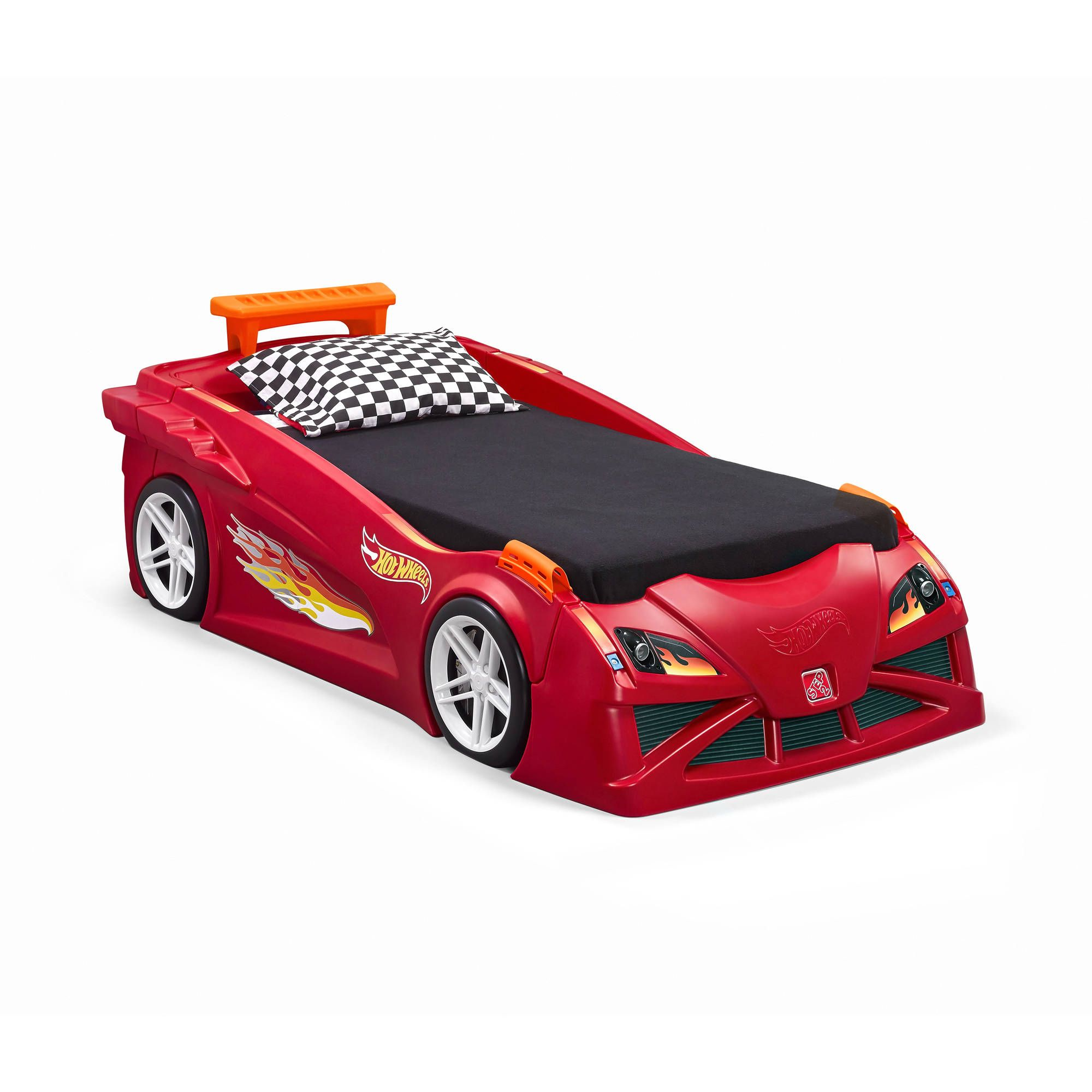 Step2 Hot Wheels ToddlerToTwin Race Car Bed, Red for