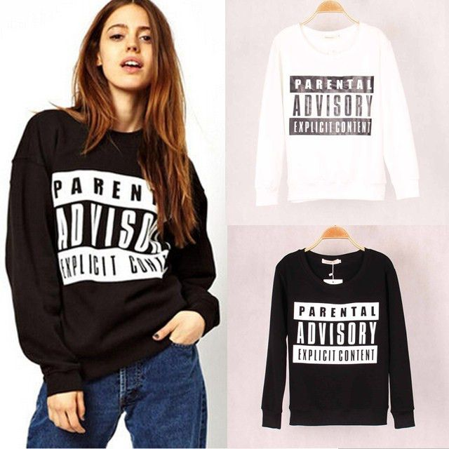 Fashion Brand Women Parental Advisory Printed Sweatshirt Hoody Hoodies  Tracksuits pullovers Tops Outerwear for Woman