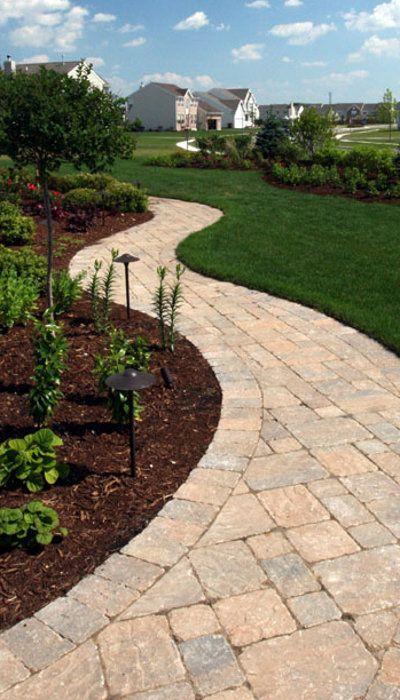 Curving Sidewalk Outdoor Ideas Brick Paver Patio