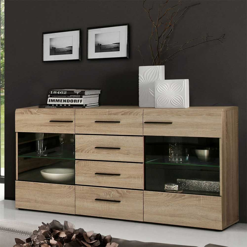 esszimmer sideboard in eichefarben braun sideboard wohnzimmerschrank kommode sidebord. Black Bedroom Furniture Sets. Home Design Ideas