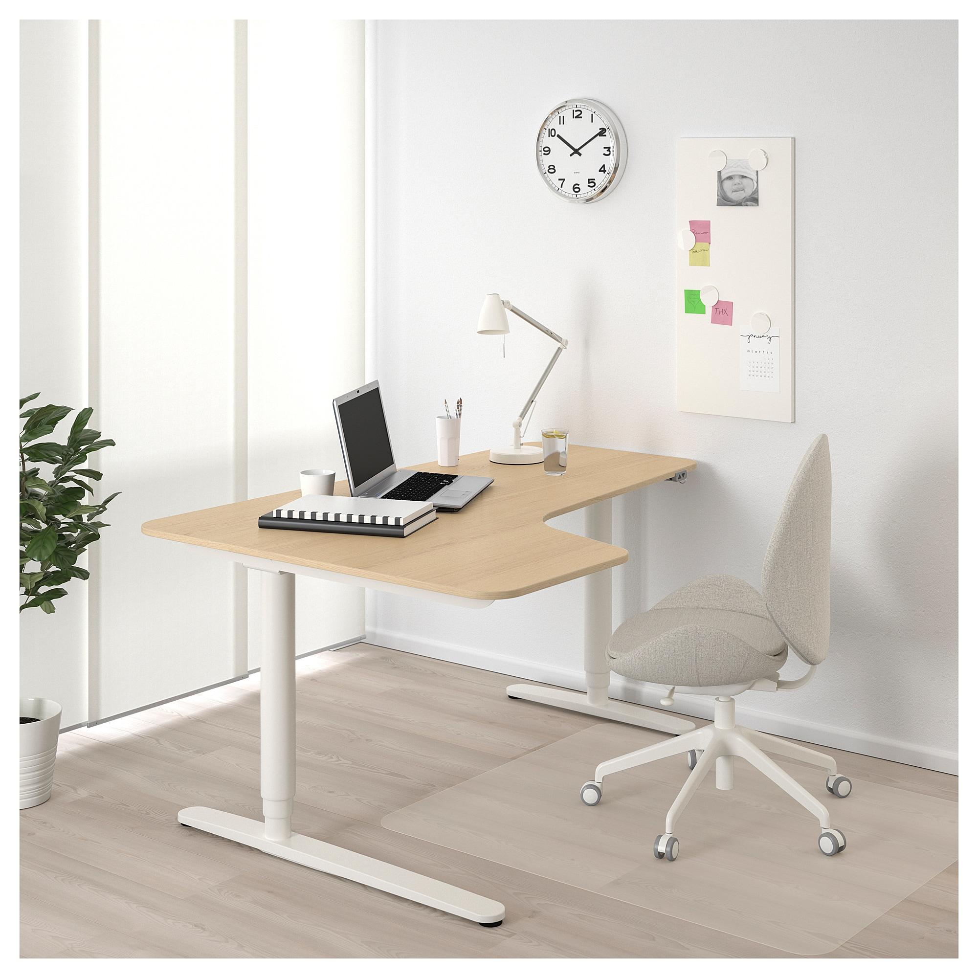 Bekant Ecktisch Links Sitz Steh Eichenfurnier Weiss Lasiert Ecktisch Schreibtisch Weiss Und Schreibtischideen